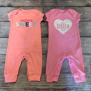 A36 Carter's 2pk infant girls graphic rompers; 3M